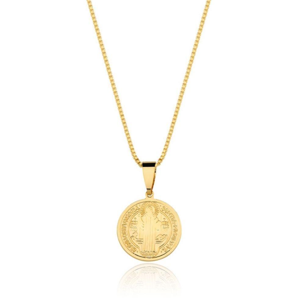 Colar de São Bento banhado banhado em ouro 18k - 2,5 cm - grande