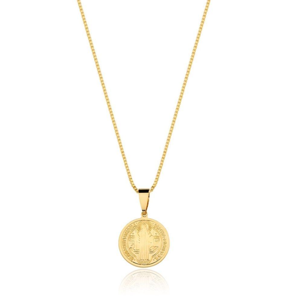 Colar de São Bento banhado banhado em ouro 18k - 2 cm - médio