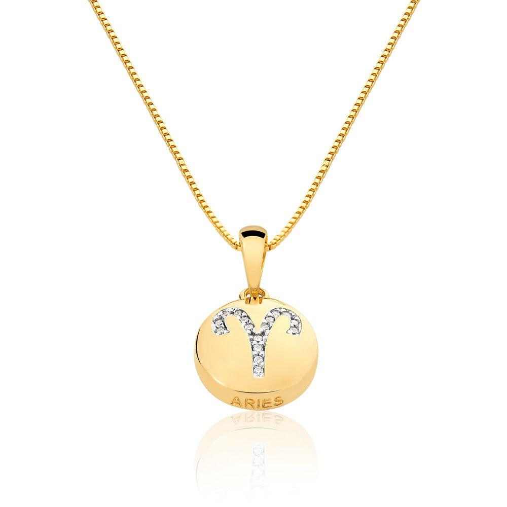 Colar De Signo Aries Com Zirconias  banhado em ouro 18k