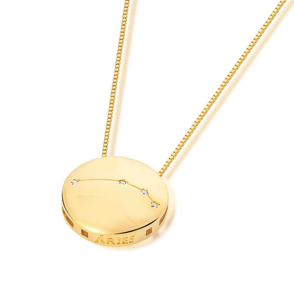 Colar De Signo Constelação De Áries  banhado em ouro 18k