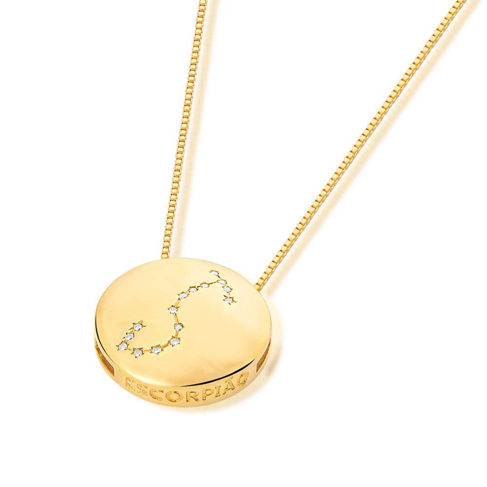 Colar De Signo Constelação De Escorpião banhado em ouro 18k