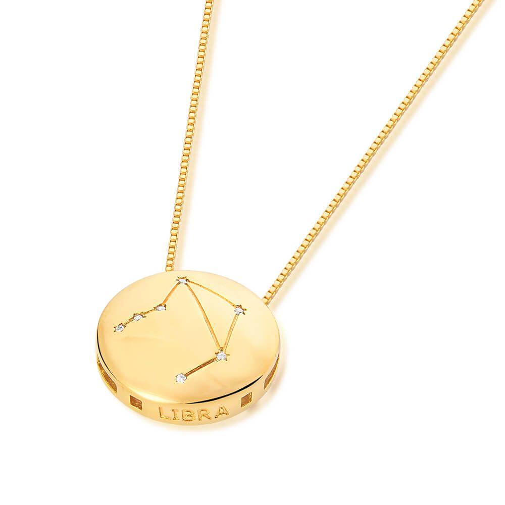 Colar De Signo Constelação De Libra banhado em ouro 18k