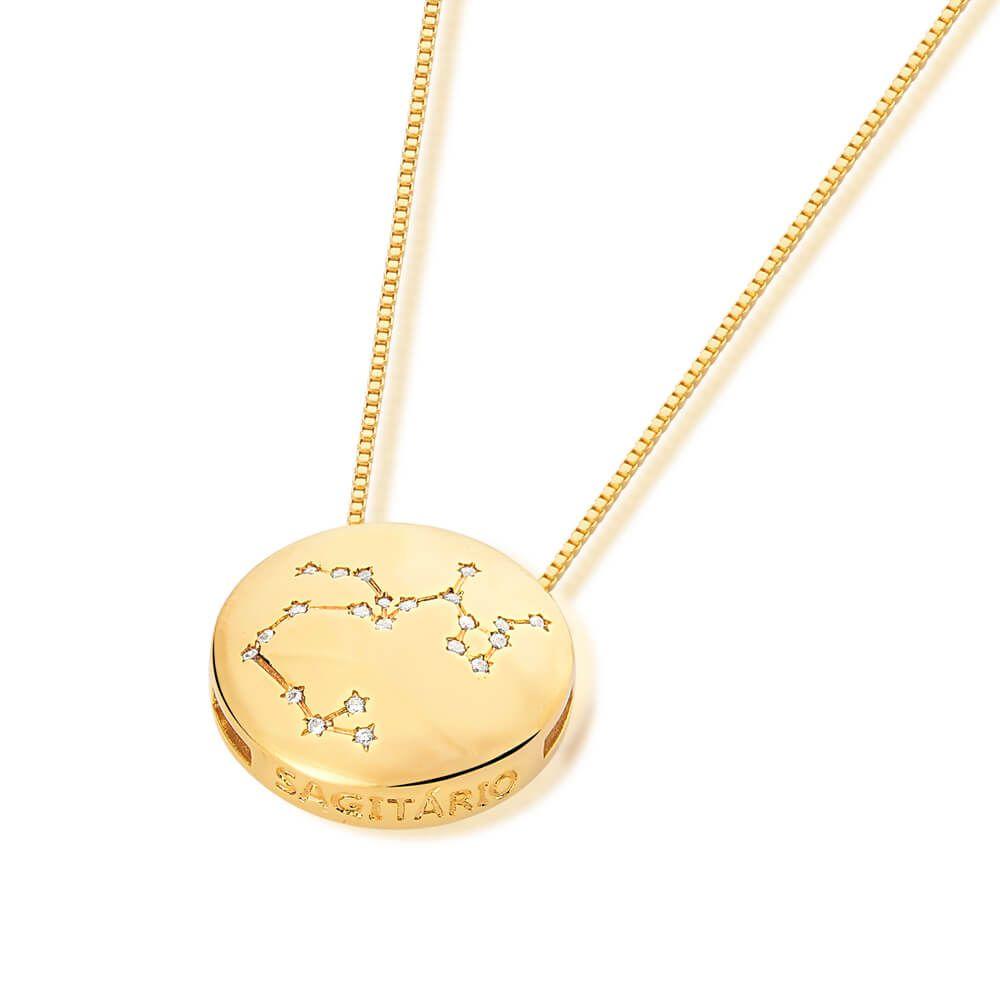 Colar De Signo Constelação De Sagitário banhado em ouro 18k