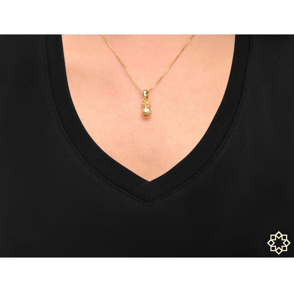 Colar feminino Abacaxi banhado em ouro