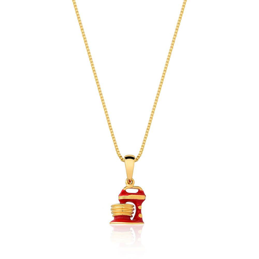 Colar Pingente De Batedeira Confeitaria banhado em ouro 18k