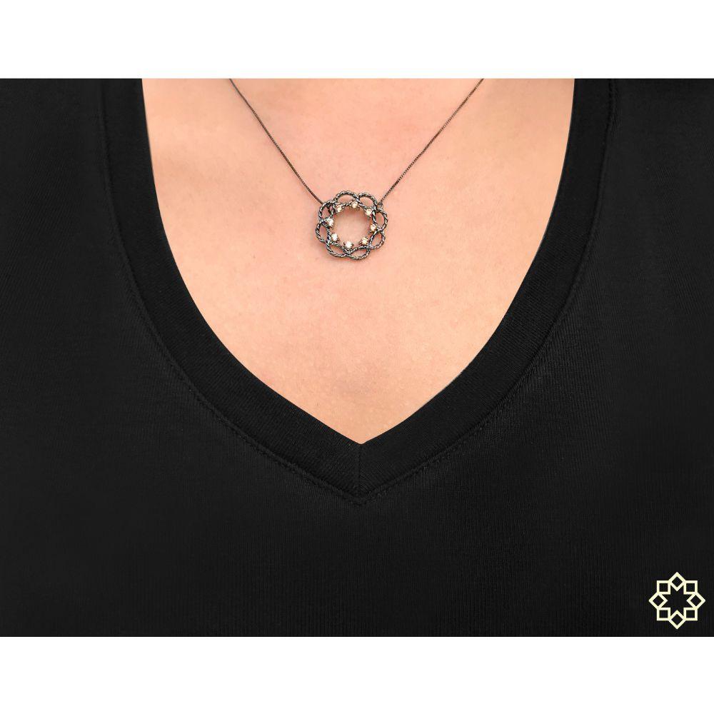 Colar Feminino Hera Com Zirconias em ródio negro