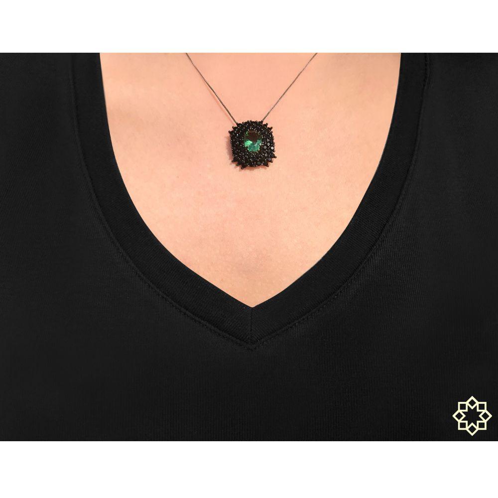 Colar Feminino Isabel Com Zirconias Negras em ródio negro