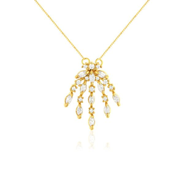 Colar Feminino Com Zirconias Kiara banhado em ouro 18k