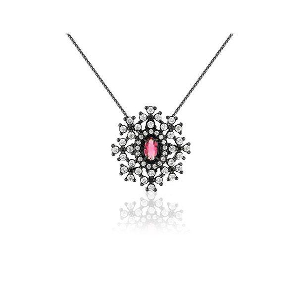 Colar Feminino Luma Com Cristal Rubi Rosa e Zircônias em ródio negro