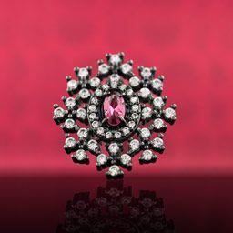 Colar Feminino Luma Com Cristal Rubi Rosa e Zircônias