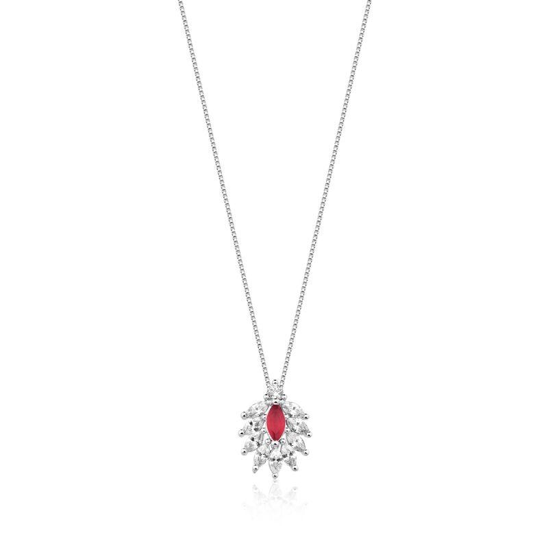 Colar Feminino Paola Com cristal vermelho e Zirconias em ródio branco