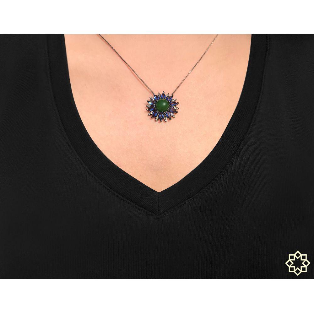 Colar Marcie Com Cristal Quartzo Verde e Zirconias