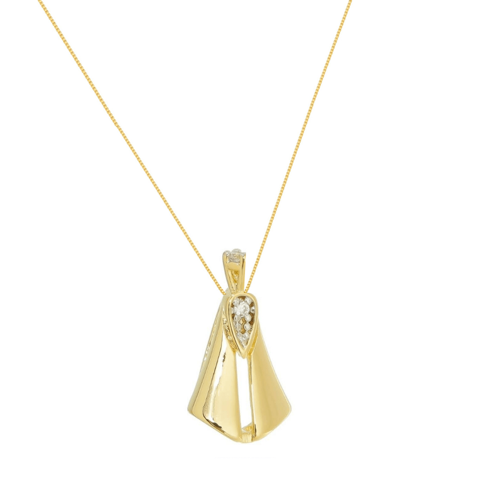 Colar com pingente de Nossa Senhora Aparecida Com banhada em ouro 18k com zirconias