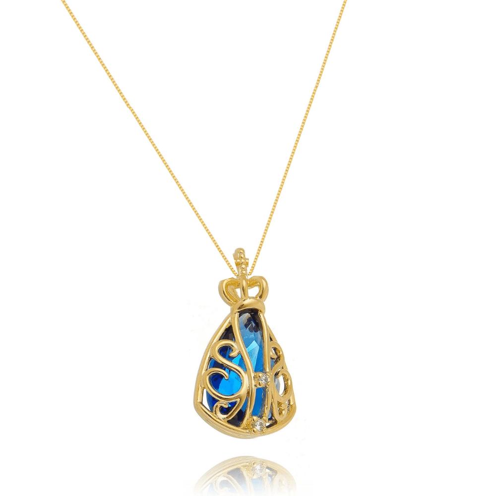 Colar com Pingente de Nossa Senhora Aparecida Com Pedra Azul e zirconia banhado em ouro 18k