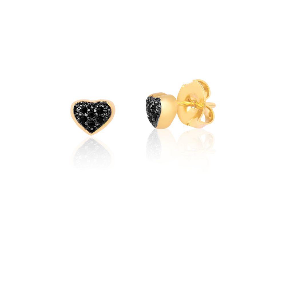 Conjunto Brinco de Argola com Segundo Furo coração zirconias onix banhado em ouro 18k