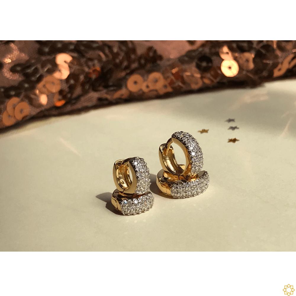 Conjunto Brinco de Argola Primeiro e Segundo Furo zirconias banhado em ouro 18k