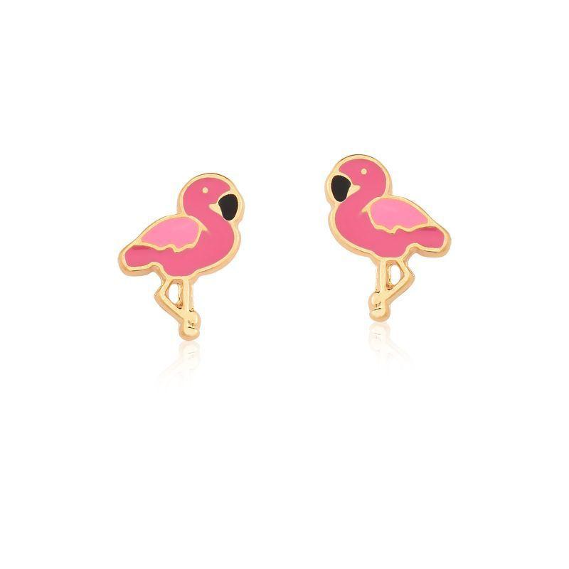 Conjunto Infantil Colar e Brinco Flamingo banhado em ouro 18k