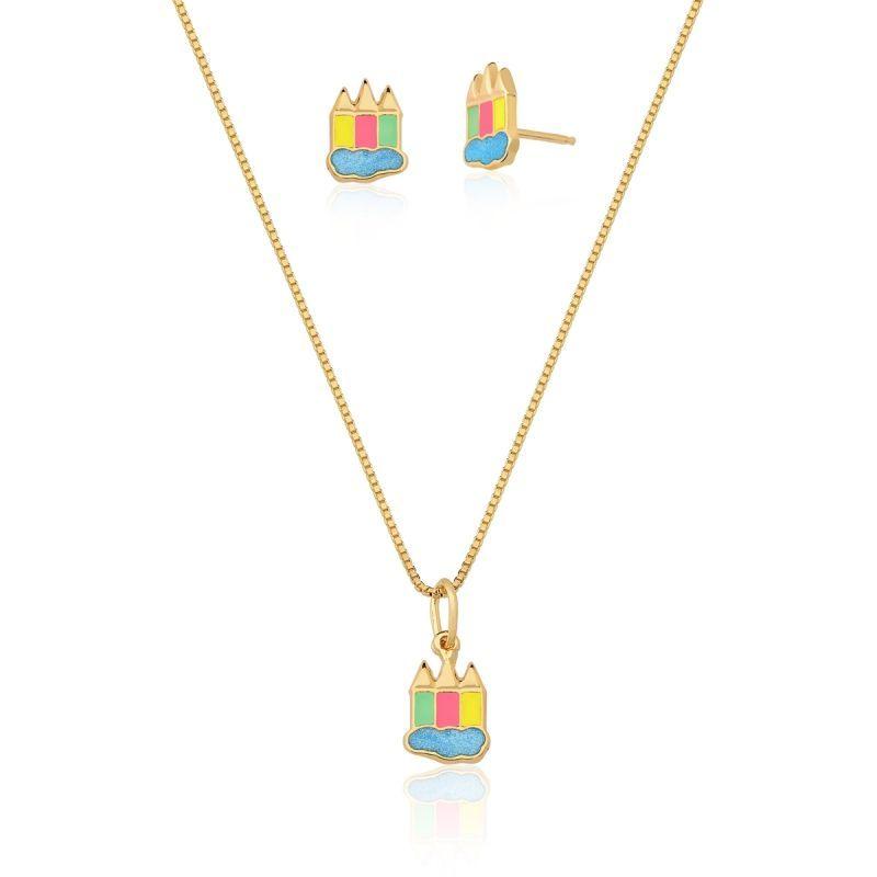 Conjunto Infantil Colar e Brinco Lápis Nuvem colorido banhado em ouro 18k