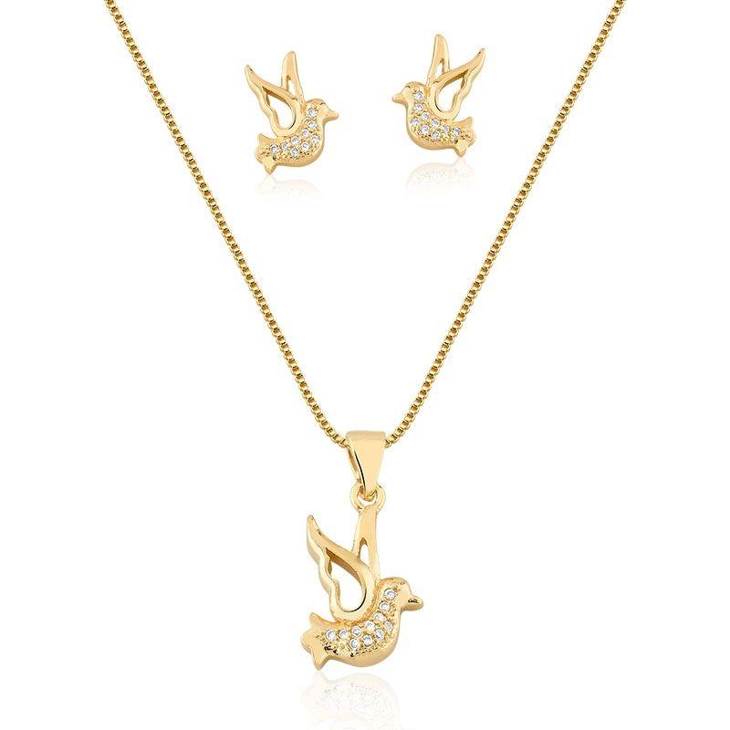 Conjunto Infantil Colar e Brinco  Pássaro com zircônias banhado em ouro 18k