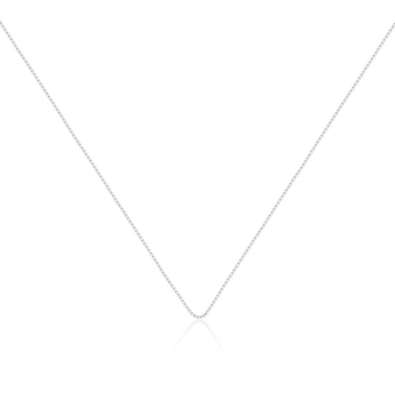 Corrente veneziana feminina banhada em ródio branco 18k - 35cm com extensor