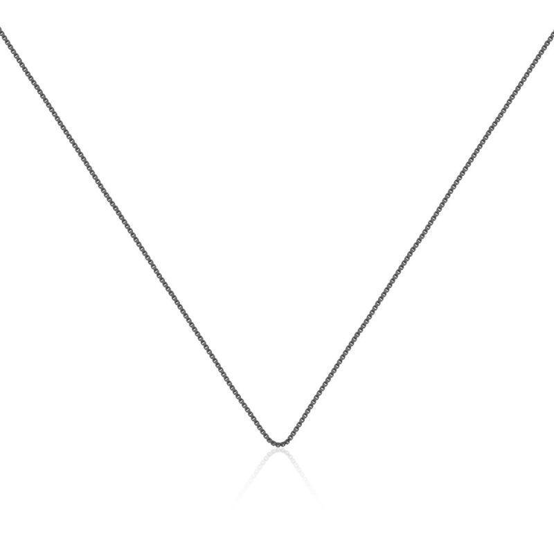 Corrente veneziana feminina em ródio negro - 45cm com extensor