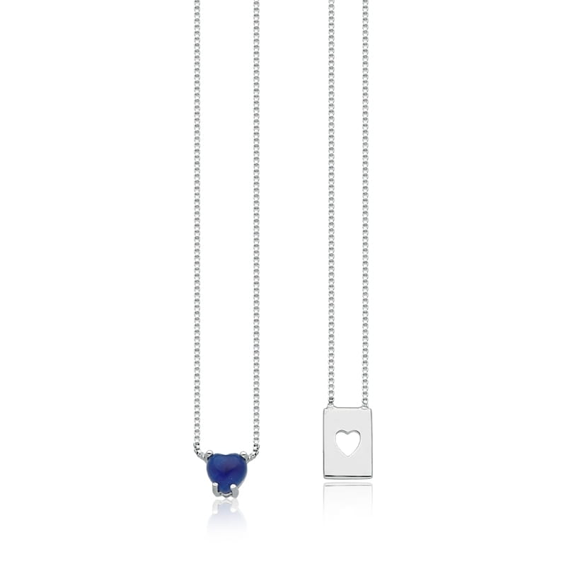 Escapulário de coração azul em ródio branco