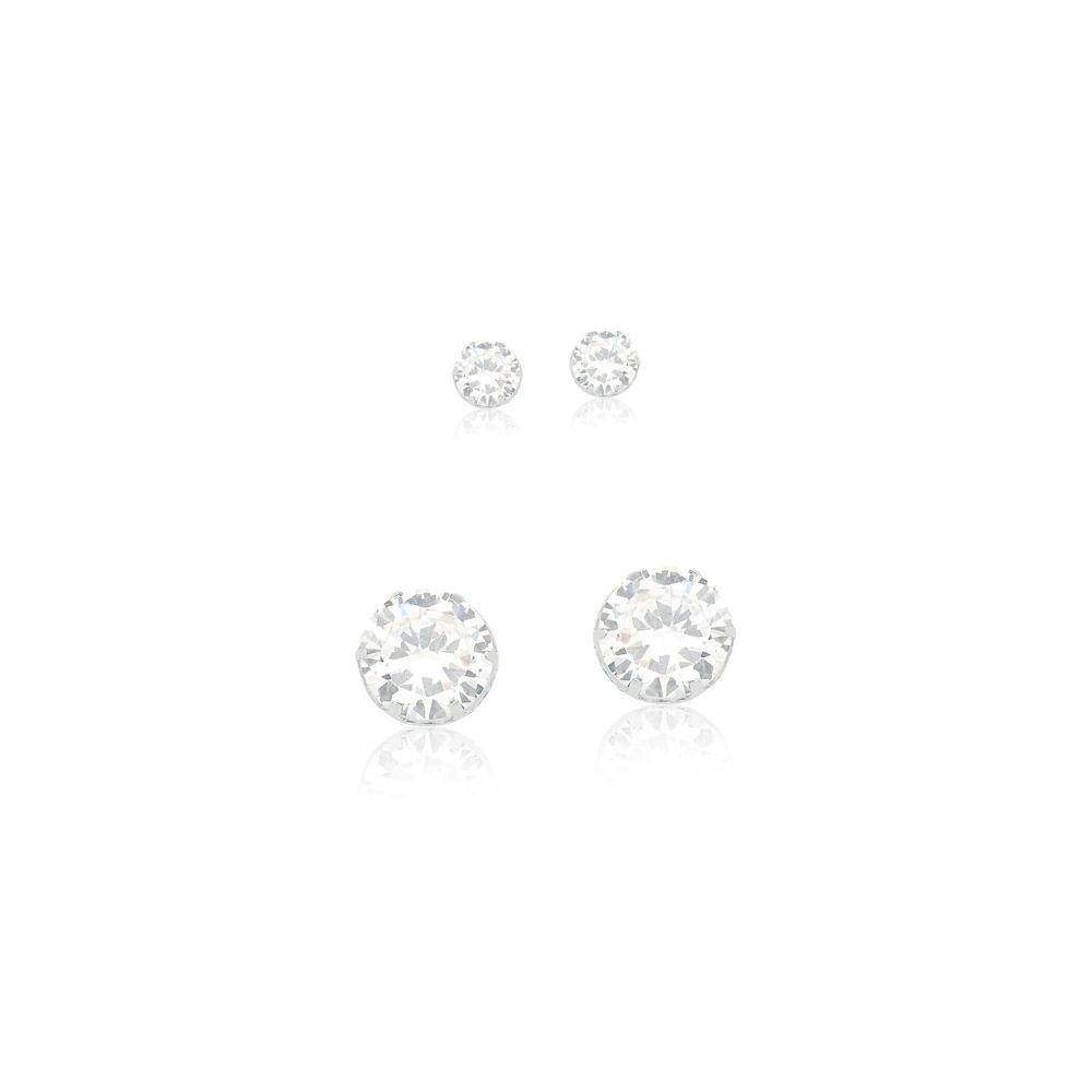 Kit 2 Brincos Ponto de Luz 6mm e 4mm em prata lisa