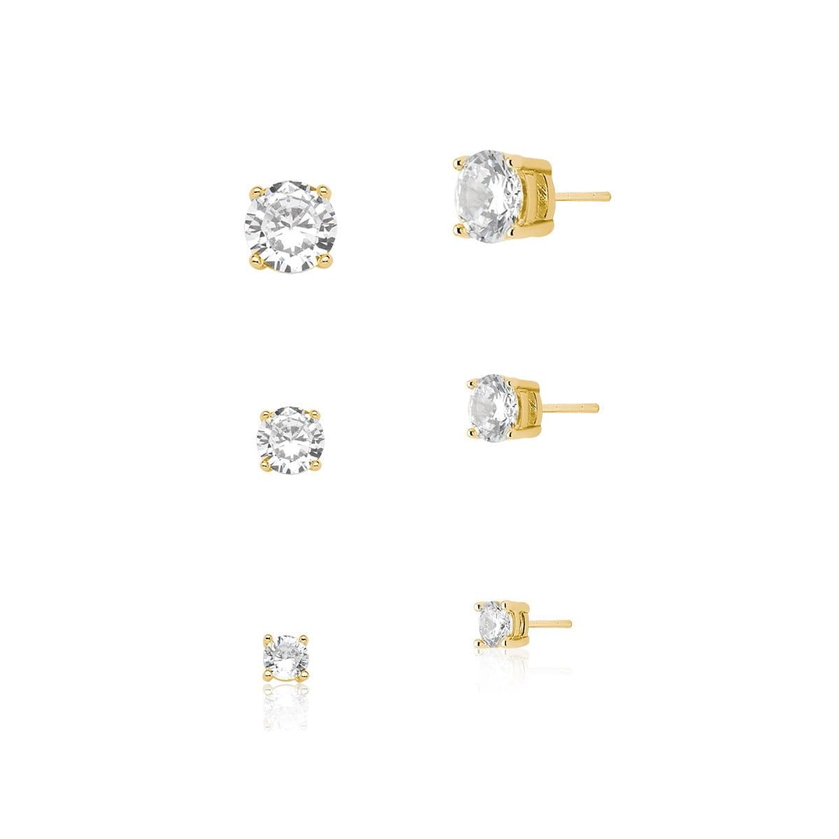 Kit Trio de Brincos Ponto de Luz 1cm,6mm e 4mm banhado em ouro 18k