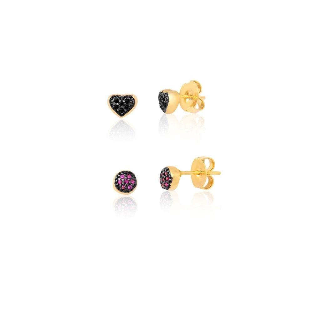 Kit de 2 Brincos Segundo Furo em zirconias onix e rubi banhadas em ouro 18k
