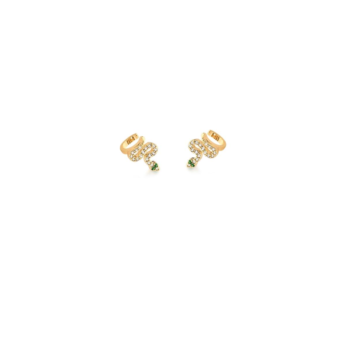Piercing de Orelha de Cobra com zirconias verdes banhado em ouro 18k