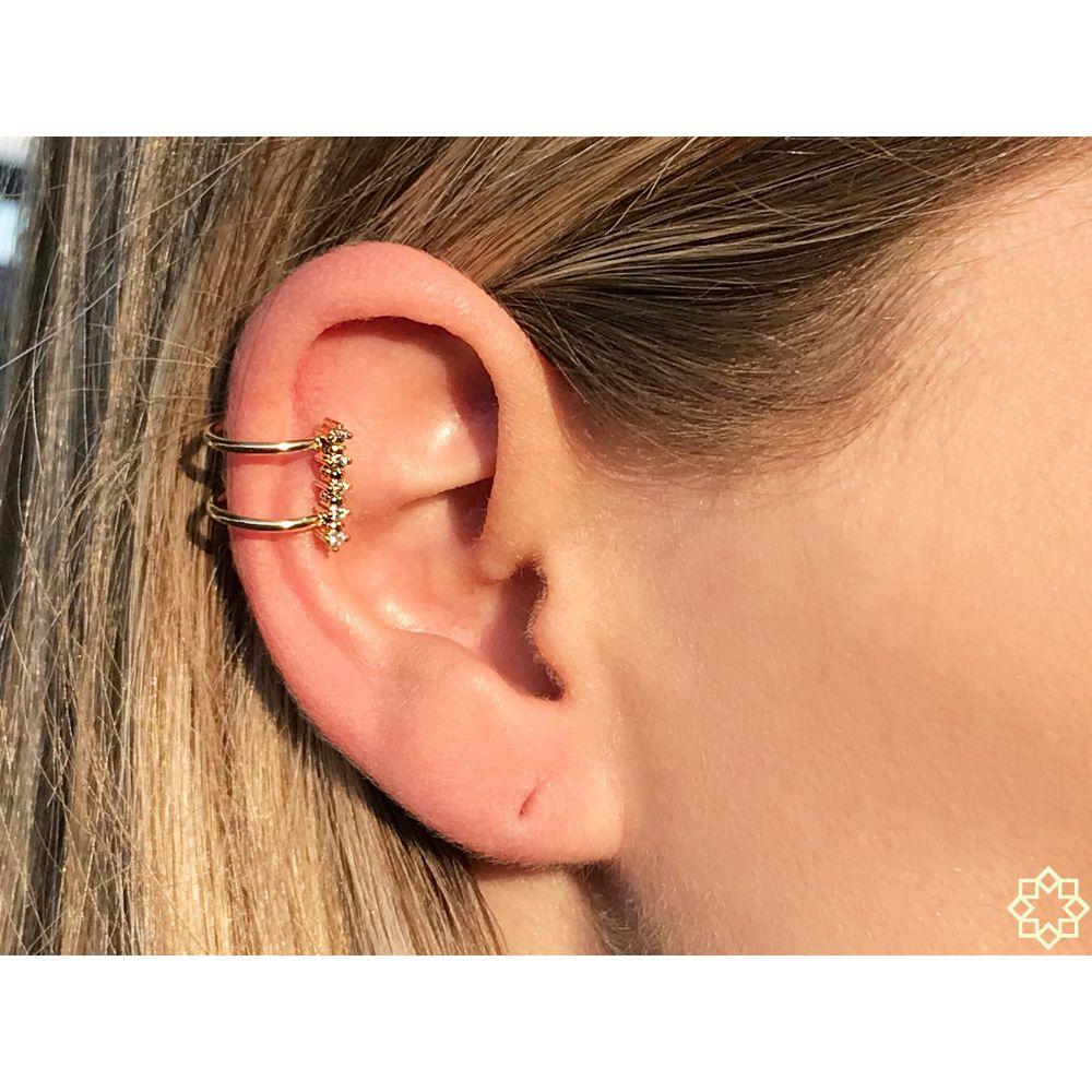 Piercing Fake delicado Com Zirconias