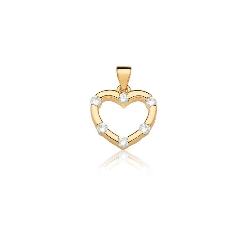 Pingente de Coração banhado em ouro com zirconias