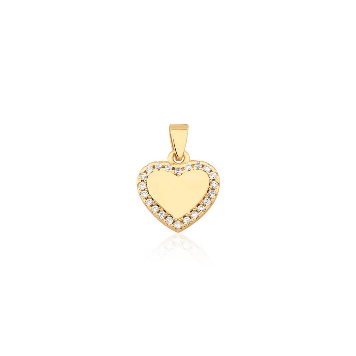 Pingente de Coração Liso com zircônias banhado em ouro 18k