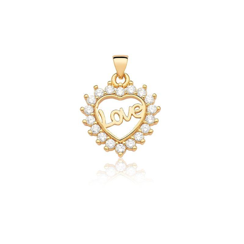 Pingente de Coração Love com zirconias banhado em ouro