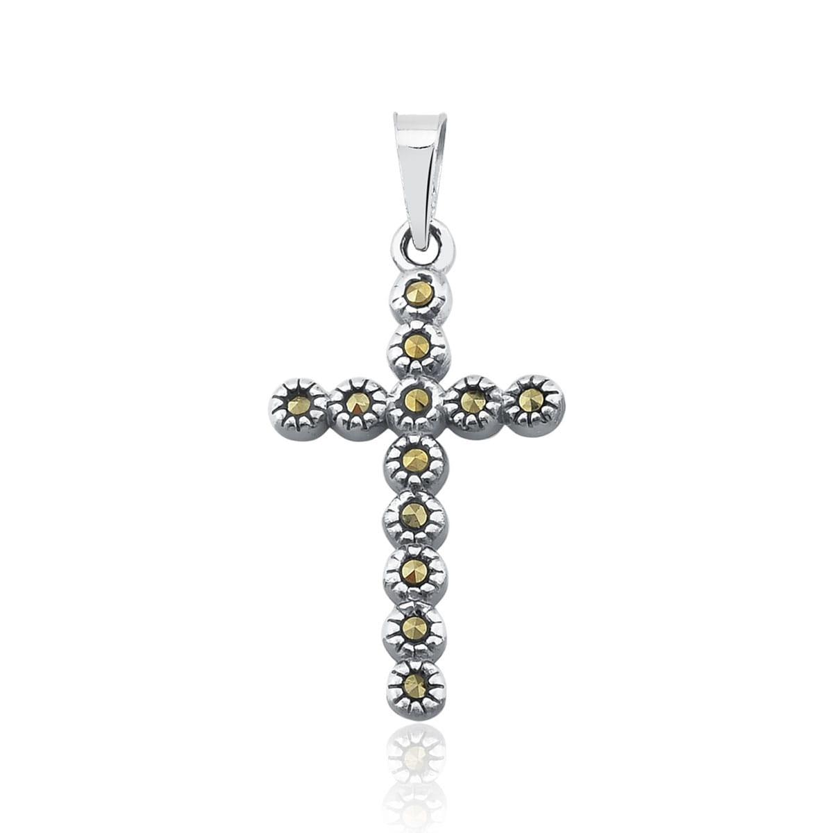 Pingente de Cruz com Pedras Marcassitas em Prata 925 Envelhecida Crucifixo