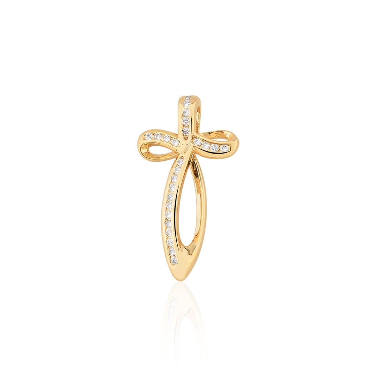 Pingente de Cruz Curva com Zircônias Brancas Banhado em ouro 18k