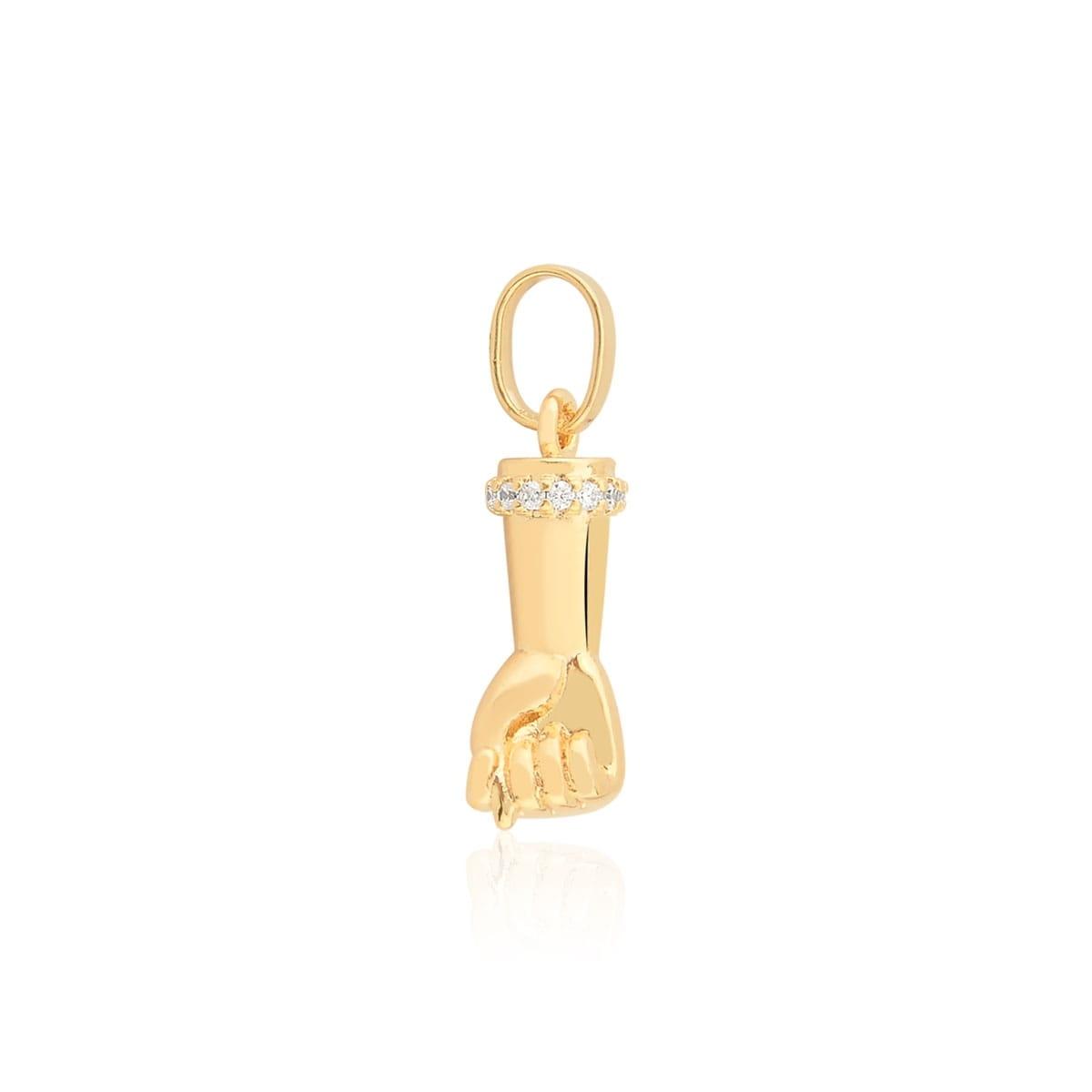 Pingente de Figa banhado com zirconias em ouro 18k
