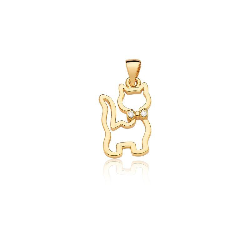 Pingente de Gatinha banhado em ouro com zirconias