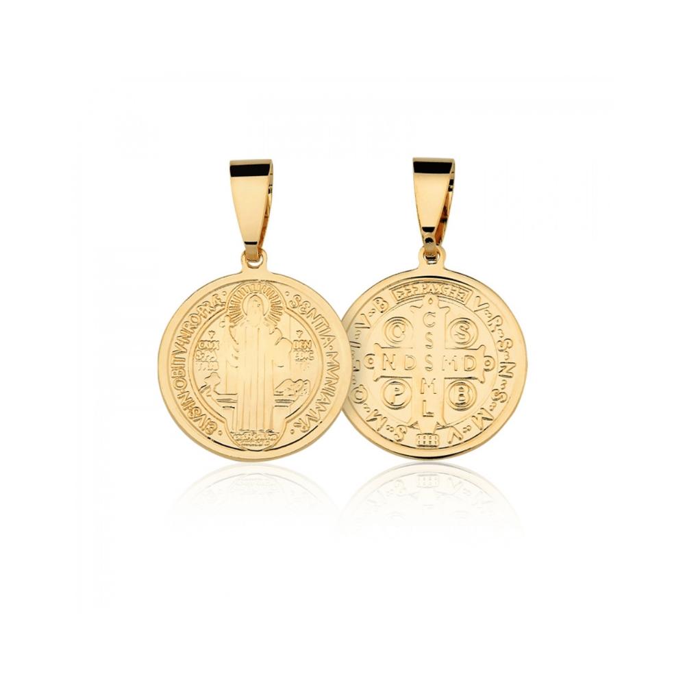 Medalha de São Bento banhado em ouro 18k - 2,5cm - grande