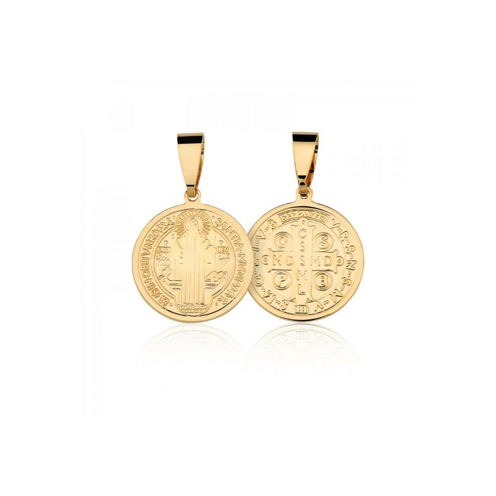 Medalha de São Bento banhado em ouro 18k - 2 cm