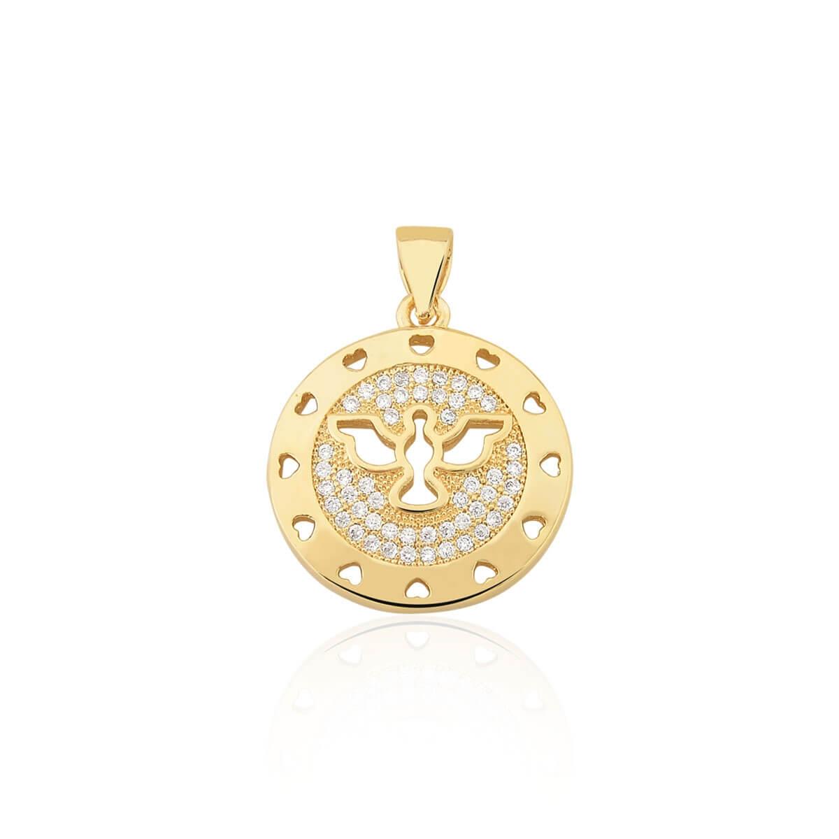 Pingente Divino Espírito Santo com zircônias banhado em ouro 18k