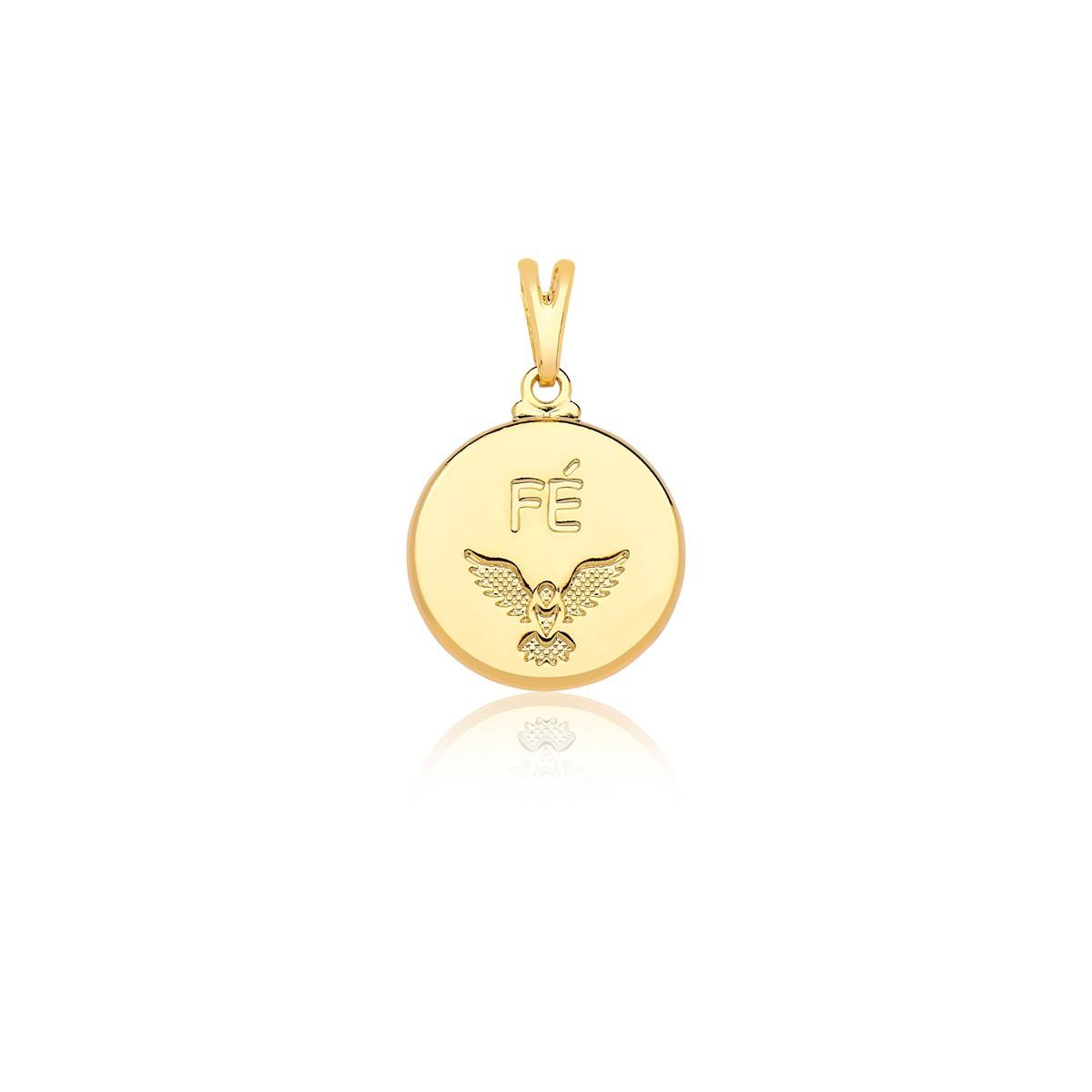 Pingente Divino Espirito Santo escrito Fé banhado em ouro 18k