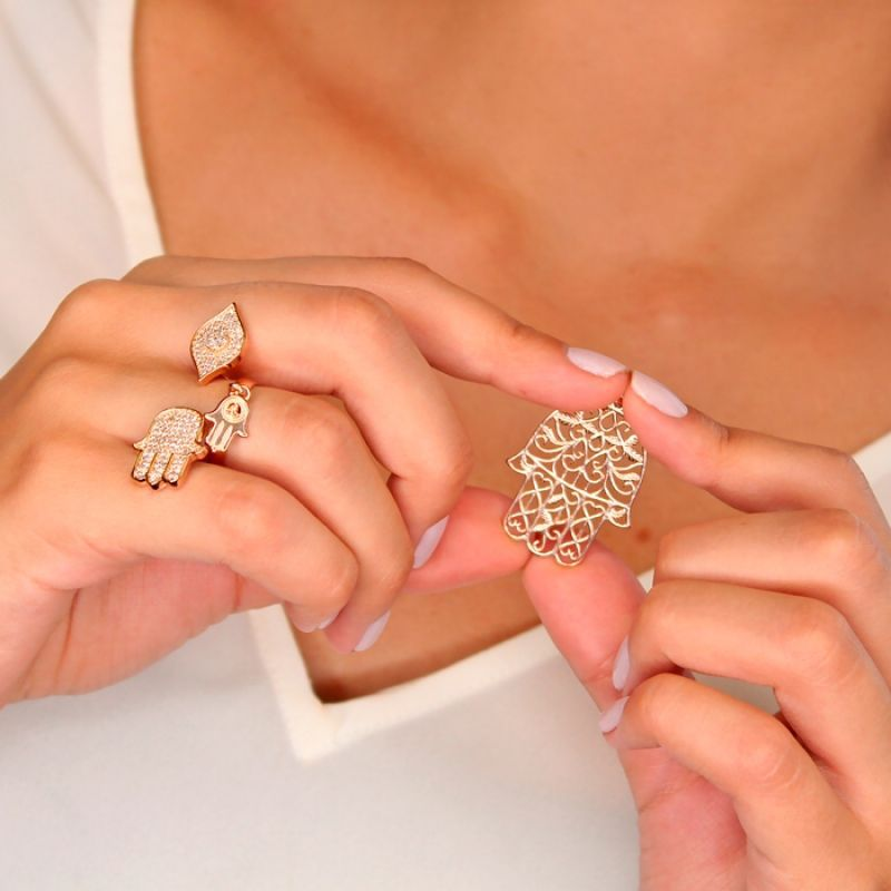 Pingente Mão de Fátima em Prata 925 em Ouro Rosé