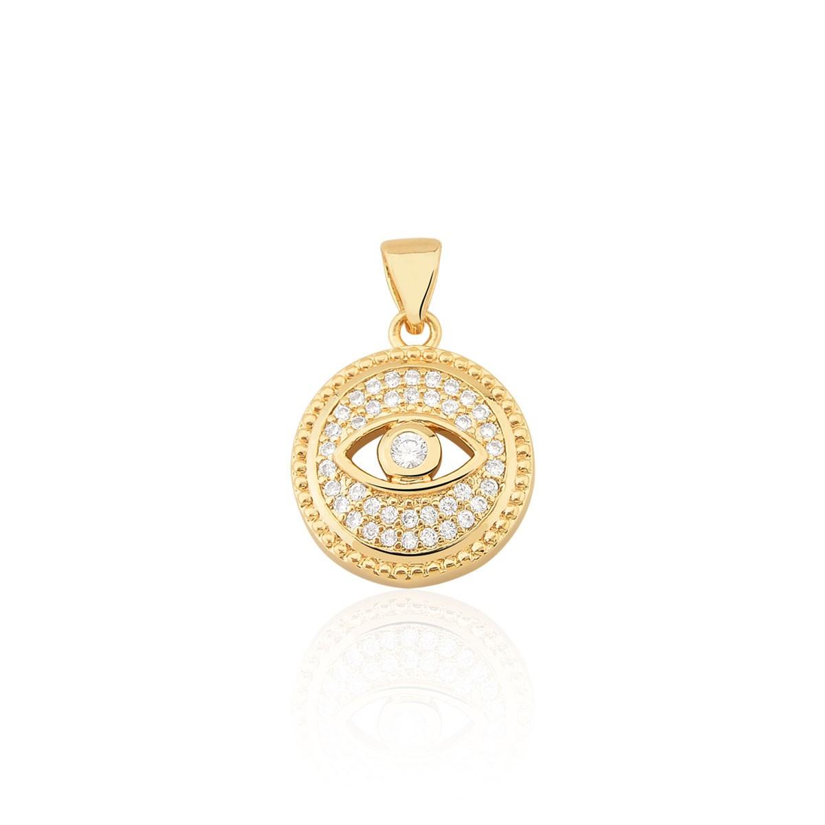 Pingente Olho Grego Com Zirconias banhado em ouro