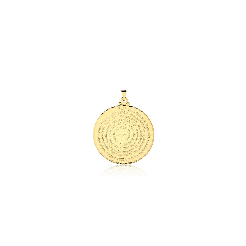 Pingente Pai Nosso banhado em Ouro 18k - 1,5 cm - pequeno