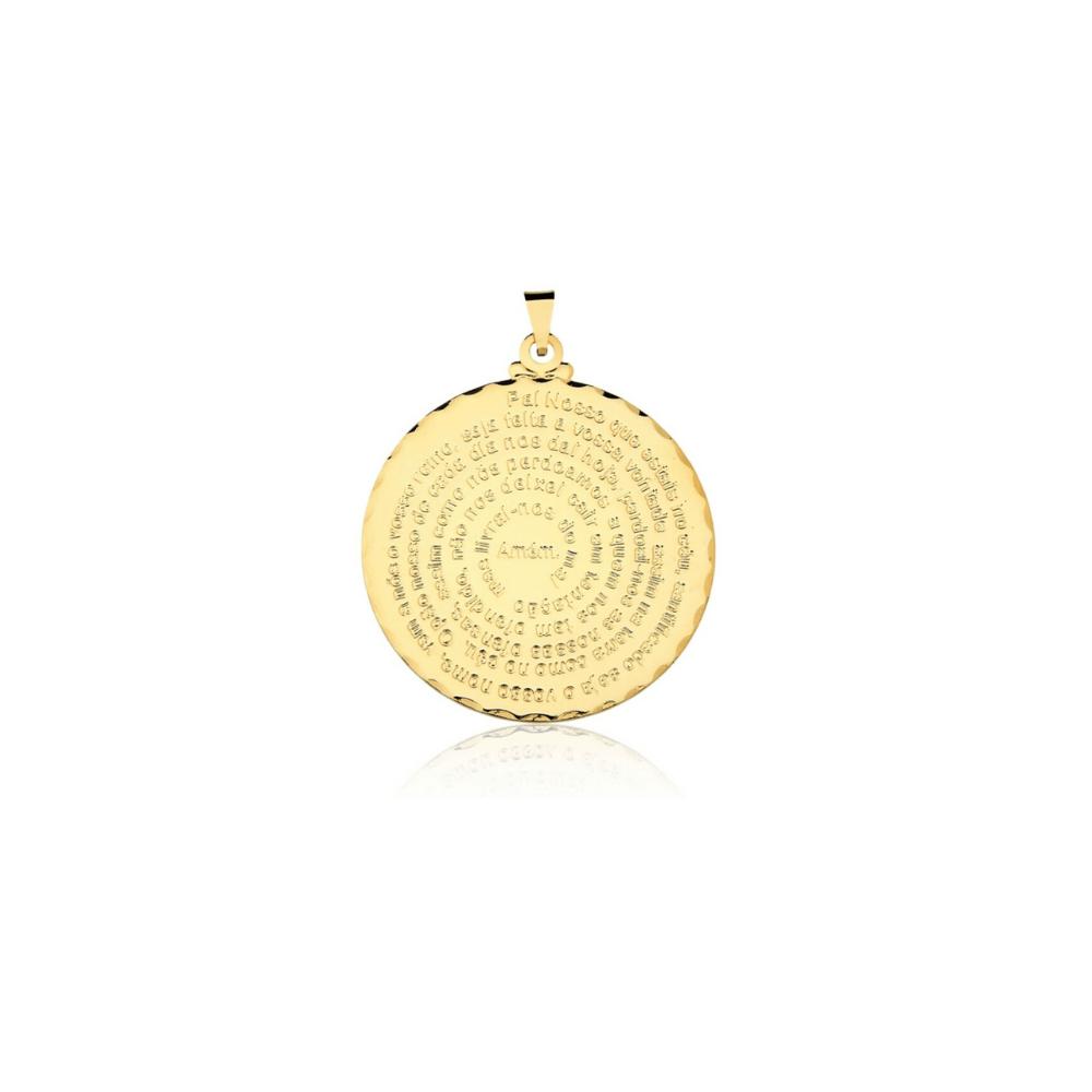 Pingente Pai Nosso banhado em Ouro 18k - 2,5cm - medio