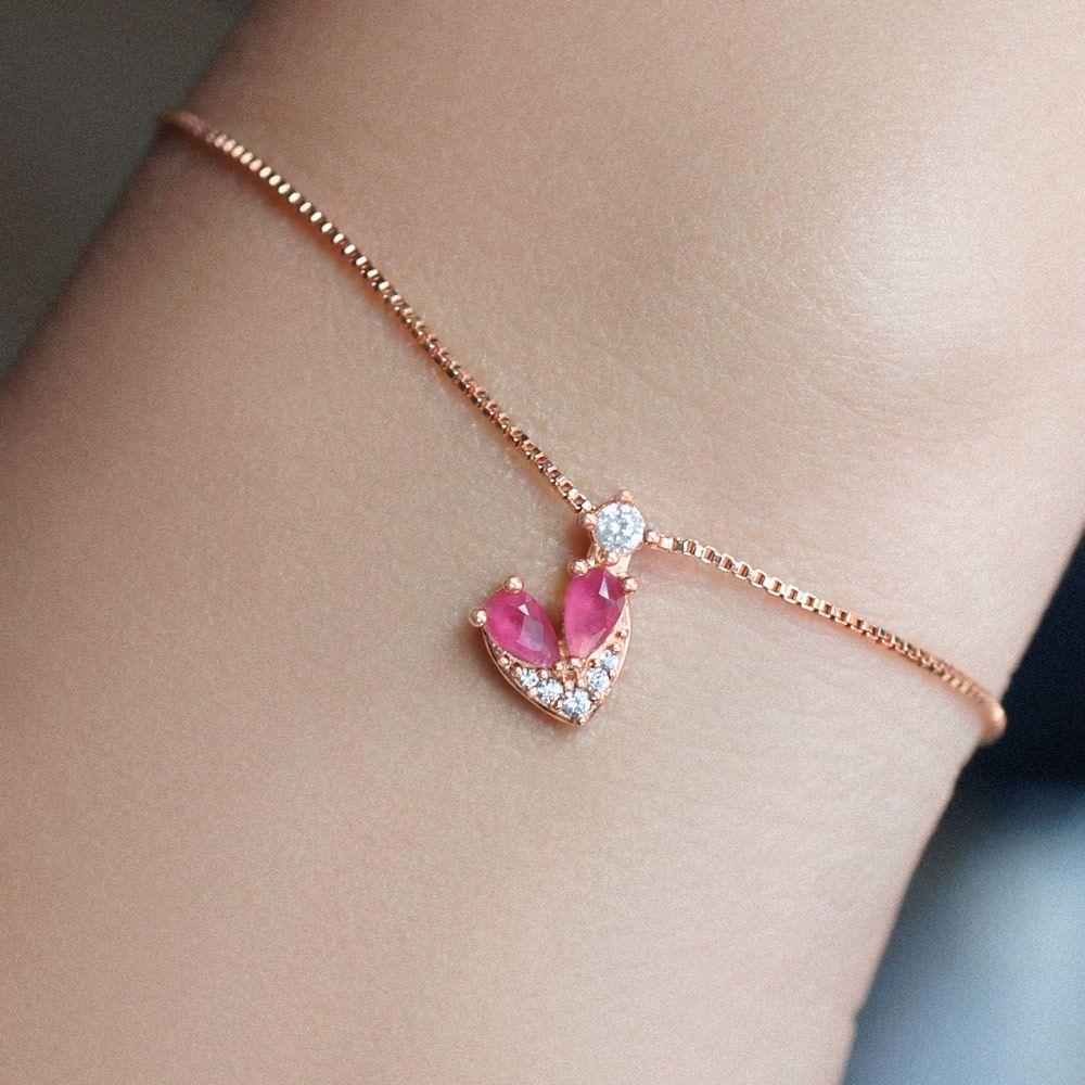 Pulseira Com Cristal Rubi Rosa em Ouro Rosé Anette