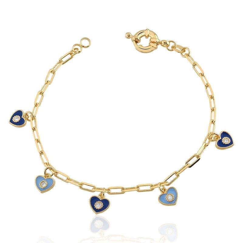 Pulseira com Pingentes de Corações Azul banhada em Ouro