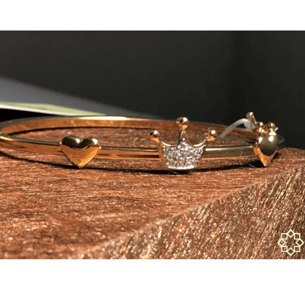 Pulseira Feminina Coroa Queen com Zirconias banhado em ouro 18k