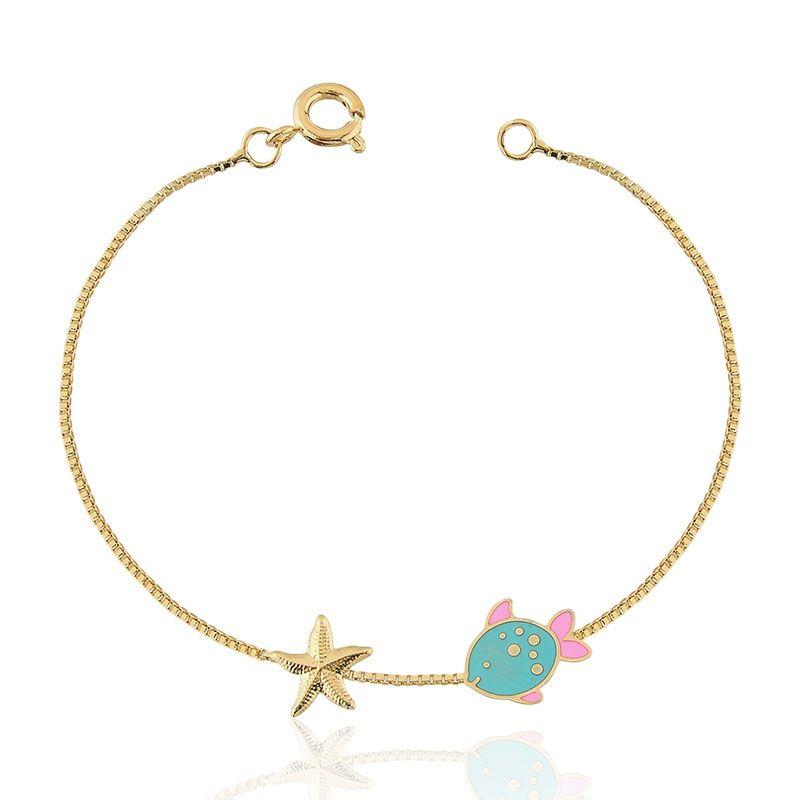 Pulseira Infantil com Pingente Peixinho e Estrela do Mar Folheada Ouro